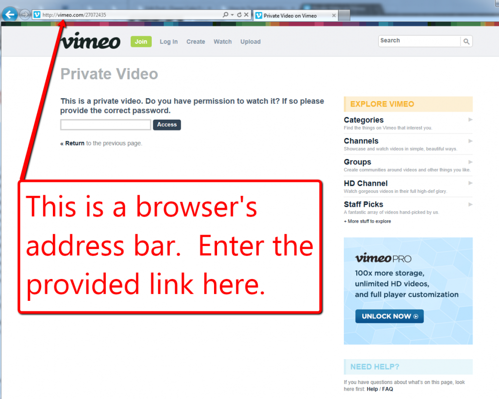 Address Bar Video Troubleshooting Image
