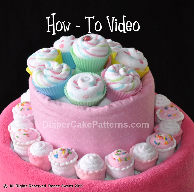 How to Make Washcloth Cupcakes Tutorial Video (2 sizes)