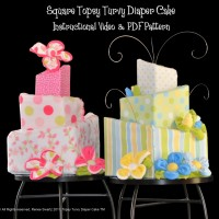 Square Topsy Turvy Diaper Cake PDF Pattern & Video