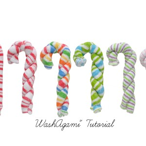 Washcloth candy cane white background