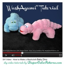 How to Make a Washcloth Baby Dino Video Tutorial