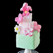 Topsy Turvy Rectangle Diaper cake with flowers - Copy