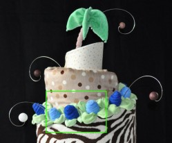 tropical theme diaper cake with cake wires