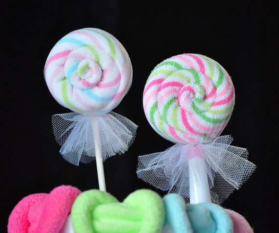 lollipop washcloth favors