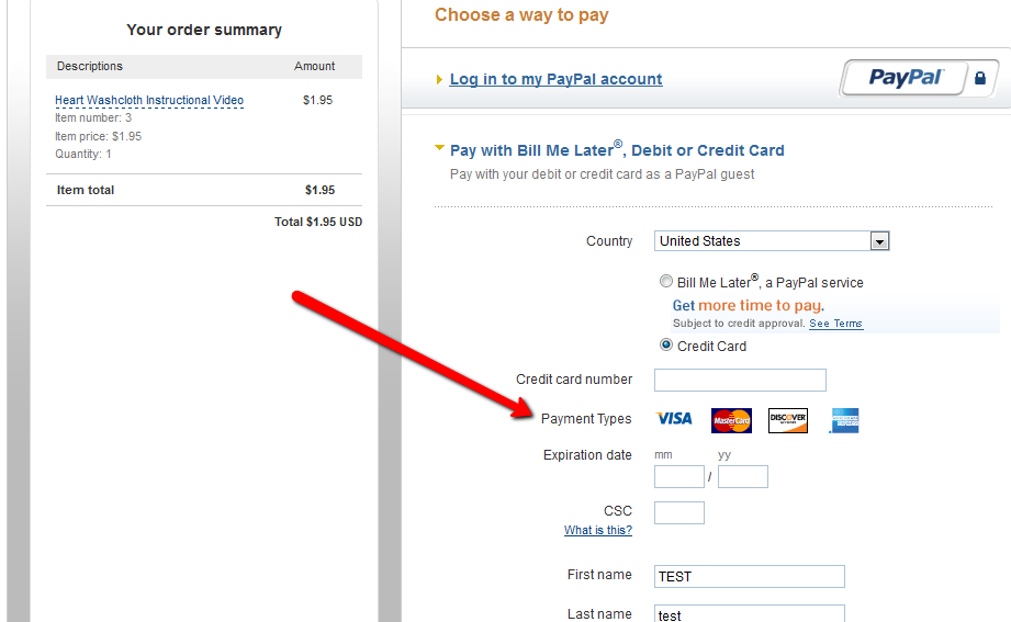 Credit Card Payment Options in Paypal