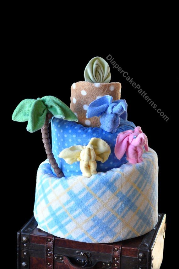 elephant diaper cake jungle themed cake amp washcloth animal bundle 3878