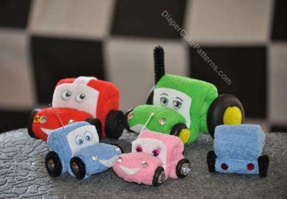 wash cloth cars and tractors