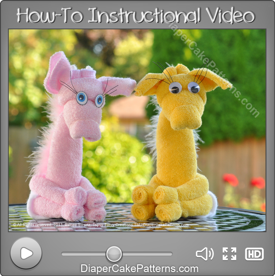 How to Make a Washcloth Giraffe Video Instructions