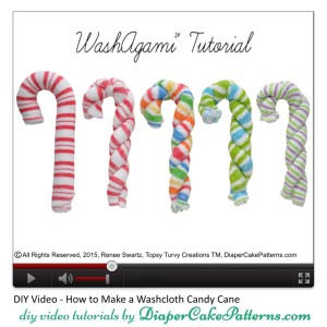 How to Make a Washcloth Candy Cane Video Tutorial