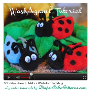 how to make a washcloth ladybug tutorial video